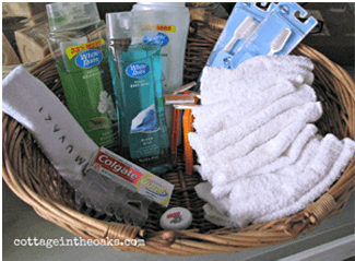 Assemble a basket of amenities guests may have forgotten to bring with them