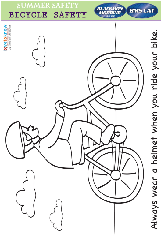 Bicycle Helmet Safety Coloring Page