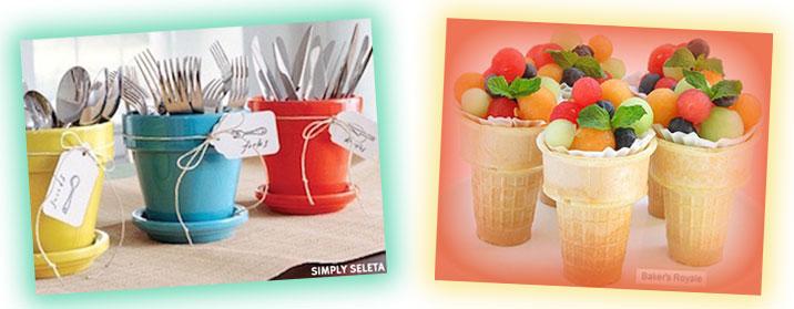 Serve balled fruit in ice cream cones